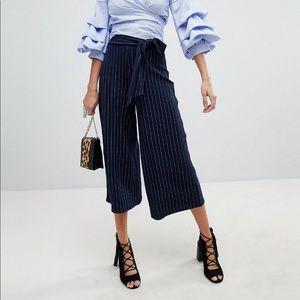 ASOS Boohoo pinstripe tie waist culottes